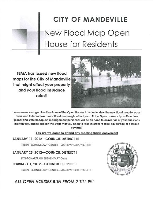 Mandeville, LA, New Flood Maps, Open House
